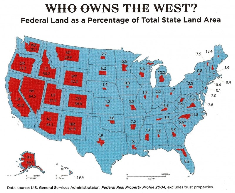 federal_lands_who owns the west federal land percentage state land area